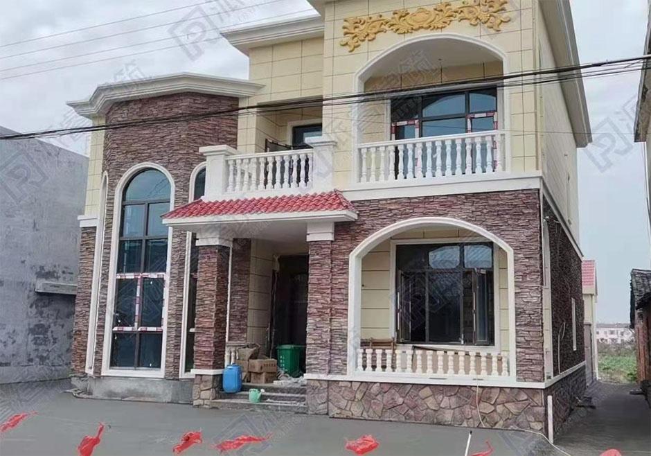 上海-农村自建二层复式别墅房屋设计图实景图片,文化石外观