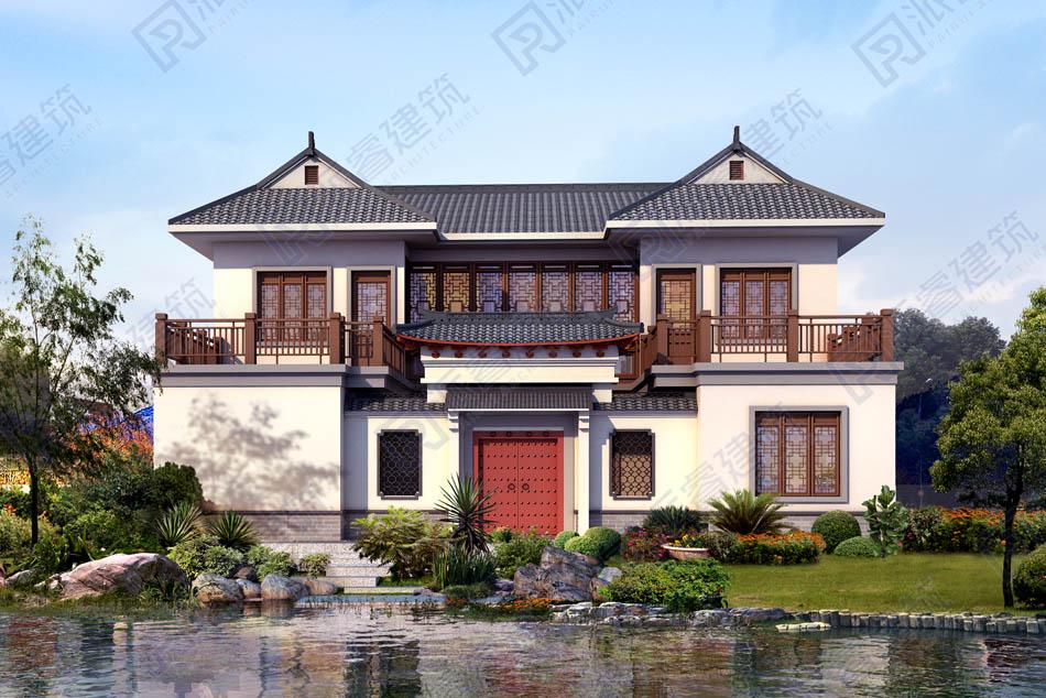 PR555-二层农村自建中式四合院别墅设计图纸,庭院别墅效果图,中国建筑精髓