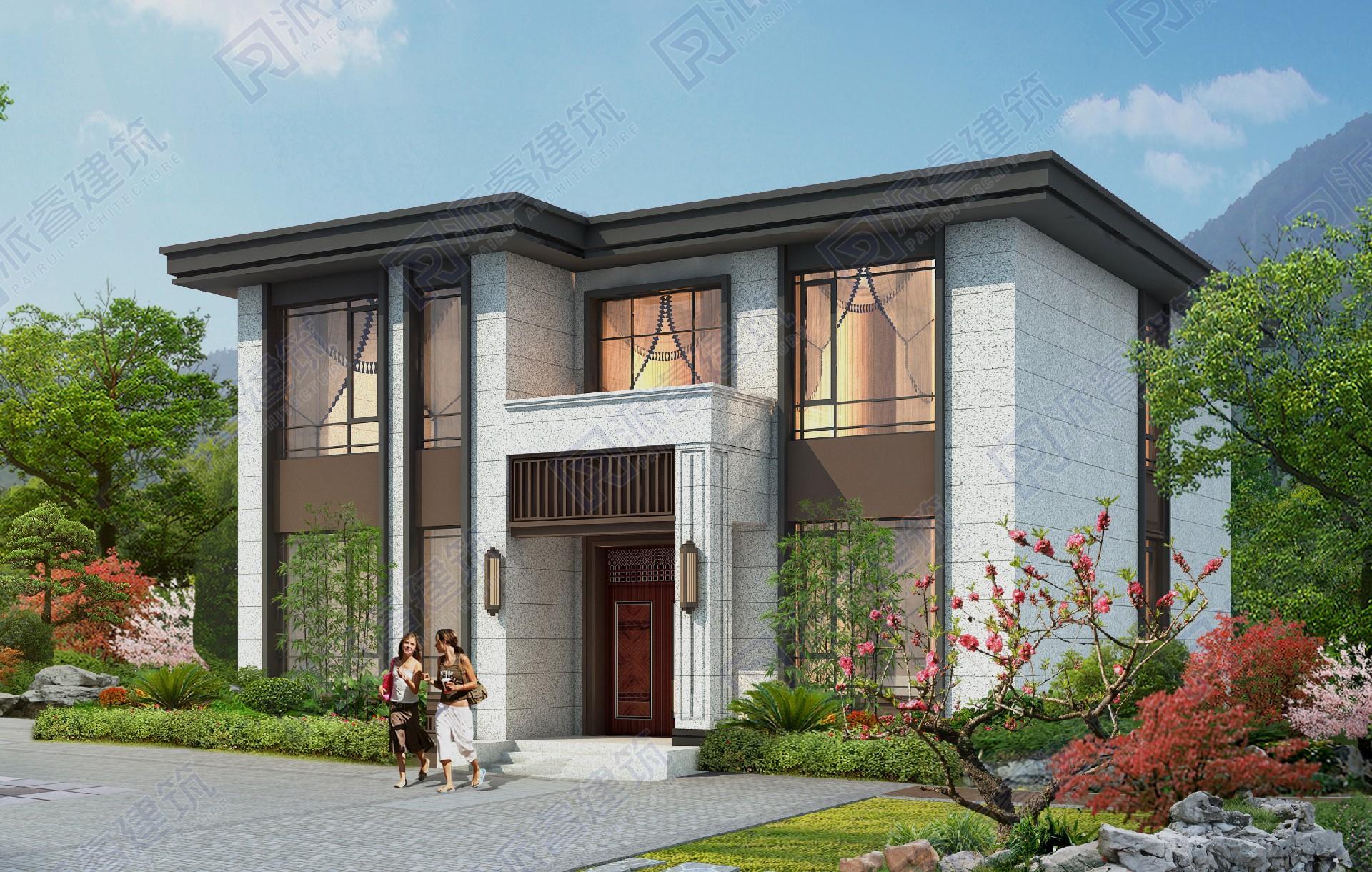 140平农村自建房设计图二层,开间12米进深12米平顶复式小别墅效果图,稳重大气-PR560