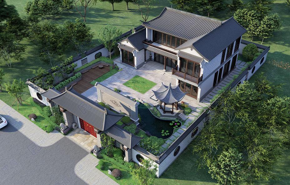 湖南宁乡-自建带庭院的农村中式二层三合院小别墅设计效果图