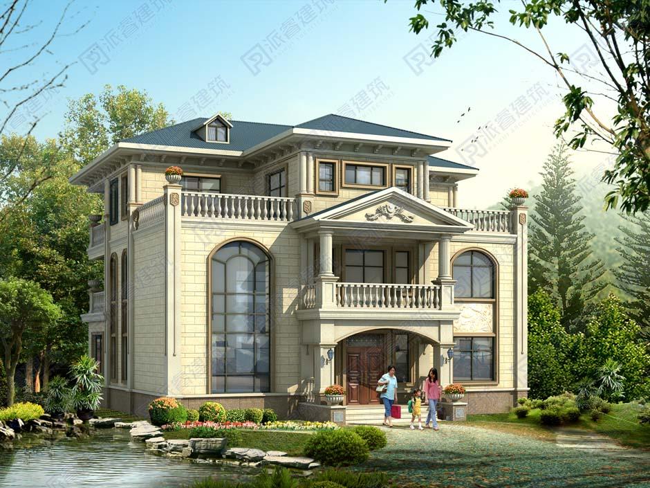 占地220平方三层带堂屋的乡村复式别墅设计图纸,两边对称带大露台,承载乡情与闲适-PR478