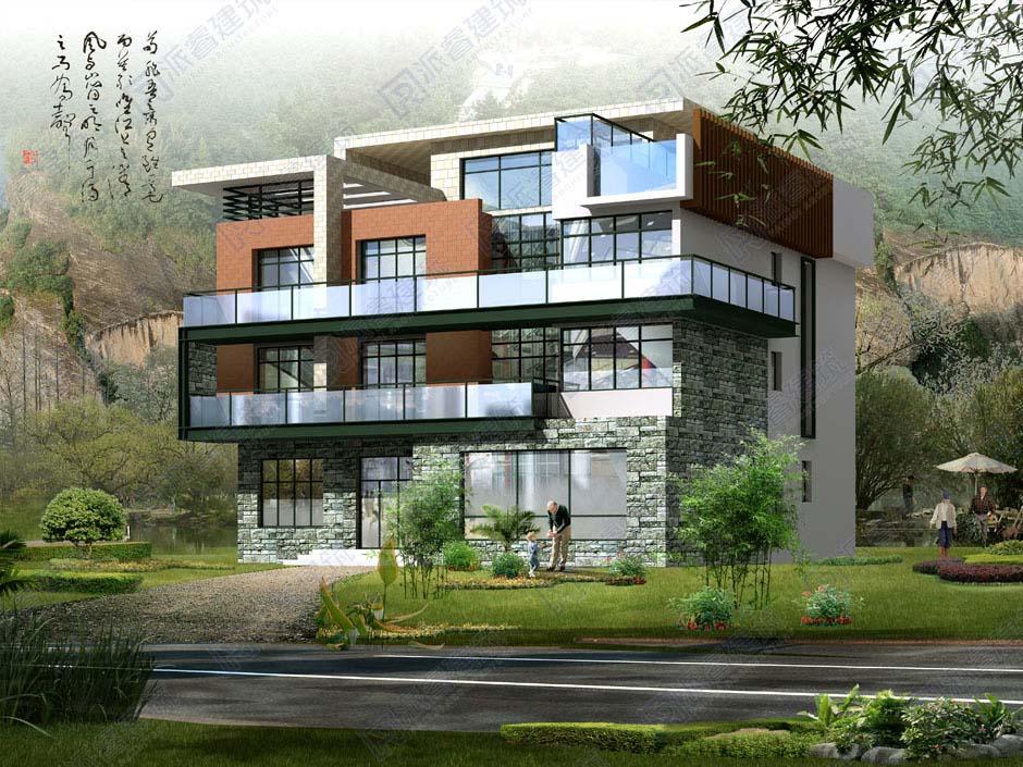 PR141 现代风格三层别墅全套施工图纸及效果图_别墅设计图纸,派睿建筑