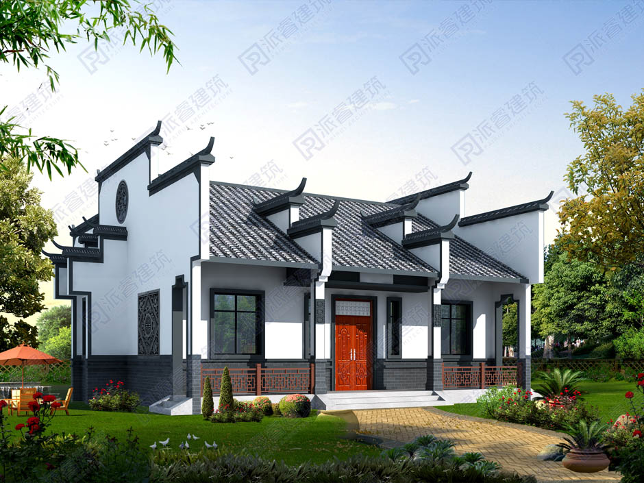 PR284-一层徽派建筑别墅设计图纸_150平中式别墅外观效果图一层带院