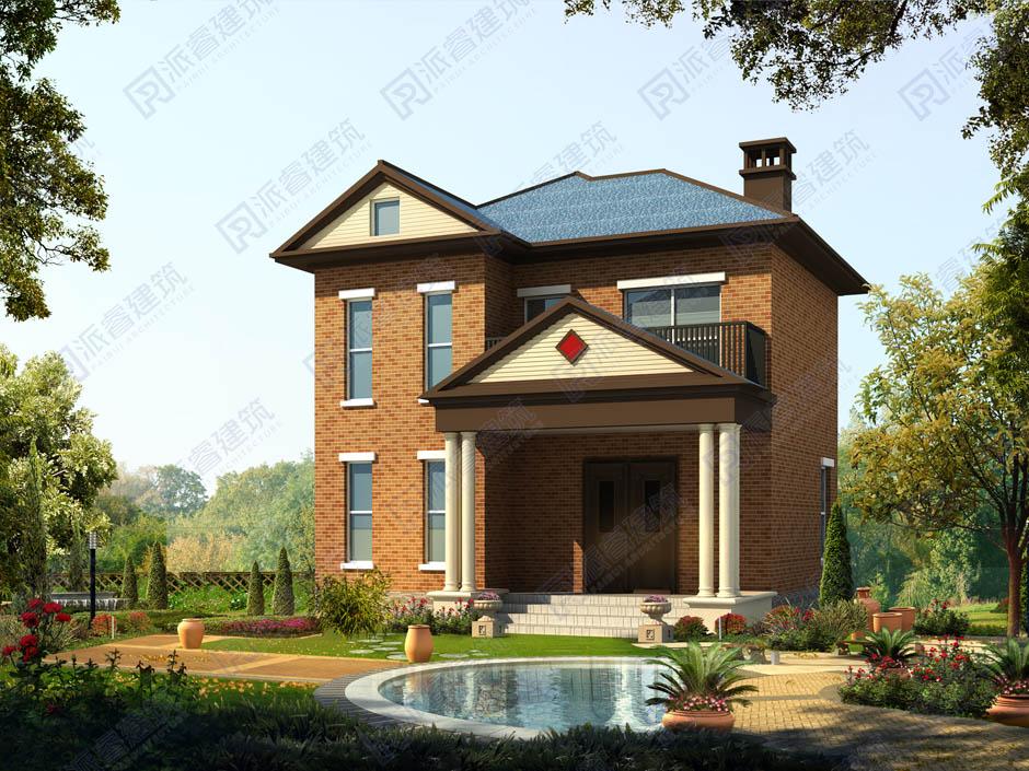 PR350 100平米独栋二层豪华别墅建筑设计效果图-派睿建筑
