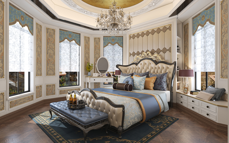 PR152 豪华欧式三层复式客厅房间效果图
