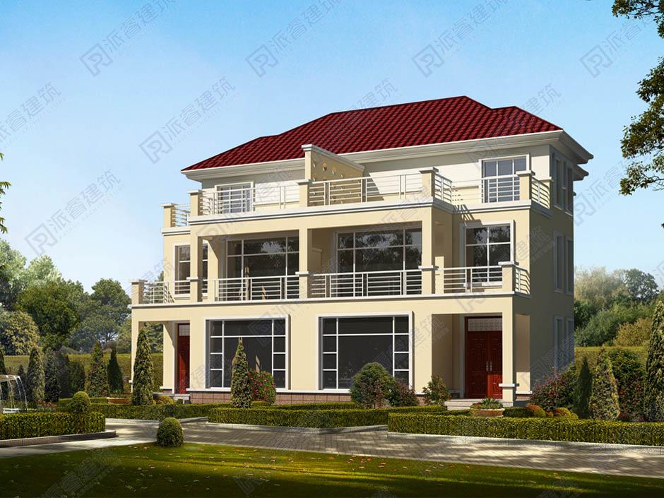 PR205 三层带大露台兄弟双拼别墅设计全套图纸大全,派睿建筑