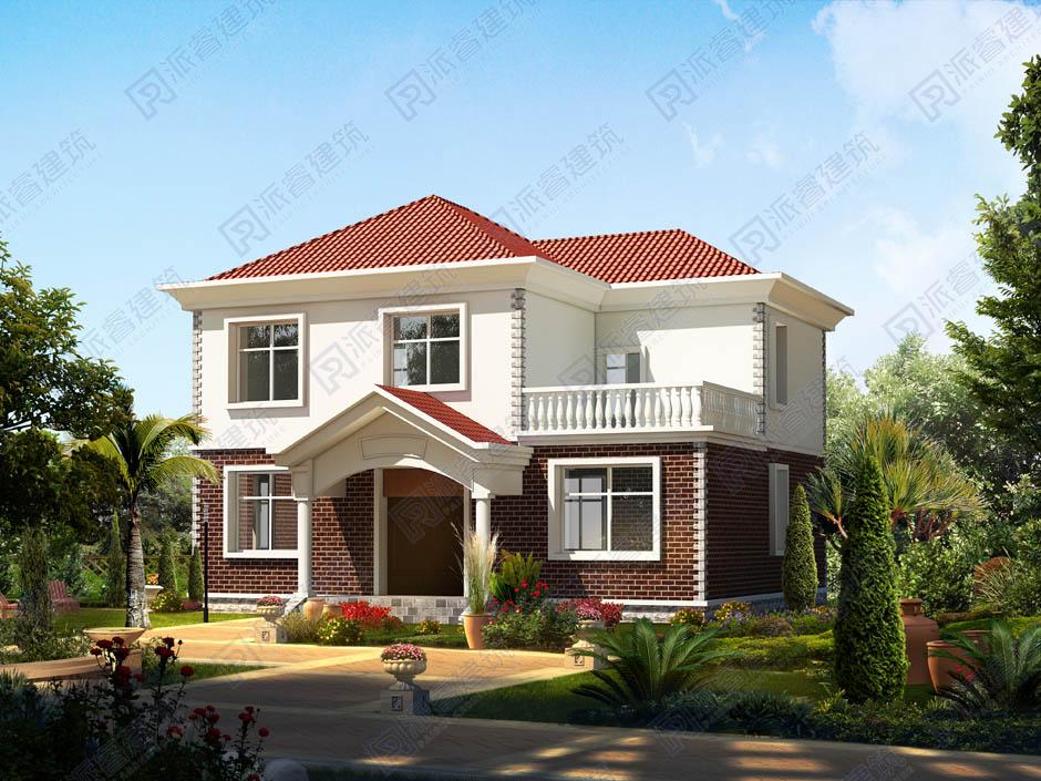 占地128平農村自建二層小別墅設計圖紙及效果圖帶神位,外觀漂亮精致-PR195