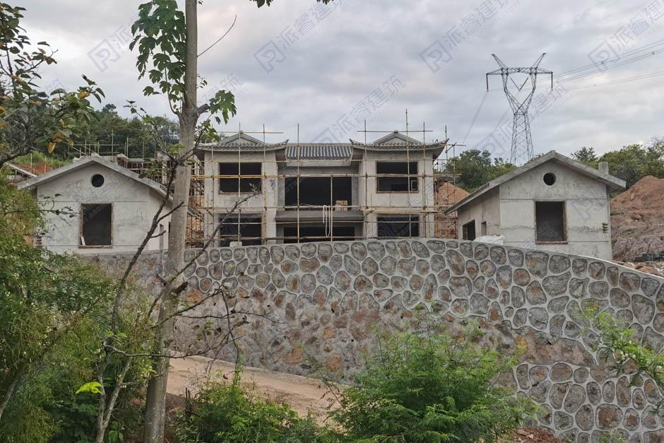 江西赣州-农村自建中式二层三合院别墅,苏州园林外观设计效果图及实景