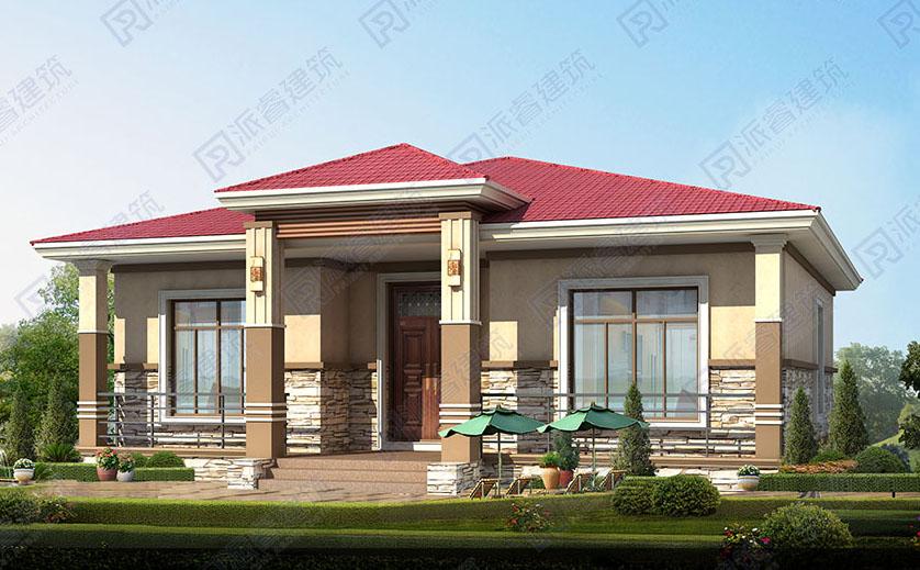 PR530-农村自建别墅设计一层图纸_占地140平_美式乡村别墅设计图
