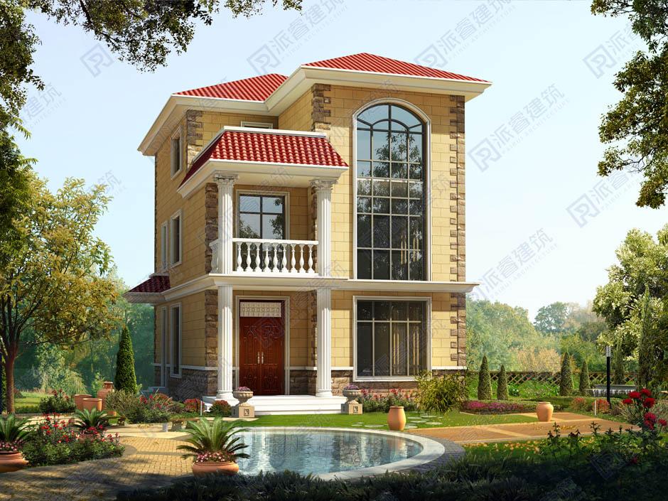 农村自建复式楼房设计效果图三层带露台,处处散发出明媚朝气之感-PR159
