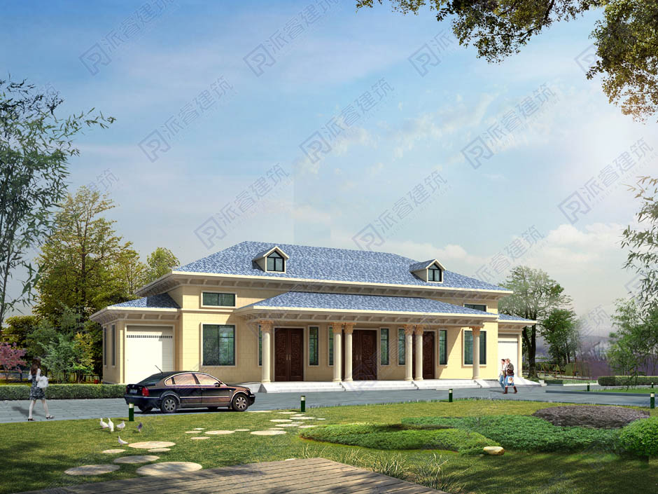 PR008 300平米高端带车库农村一层独栋别墅建筑结构设计图-派睿建筑
