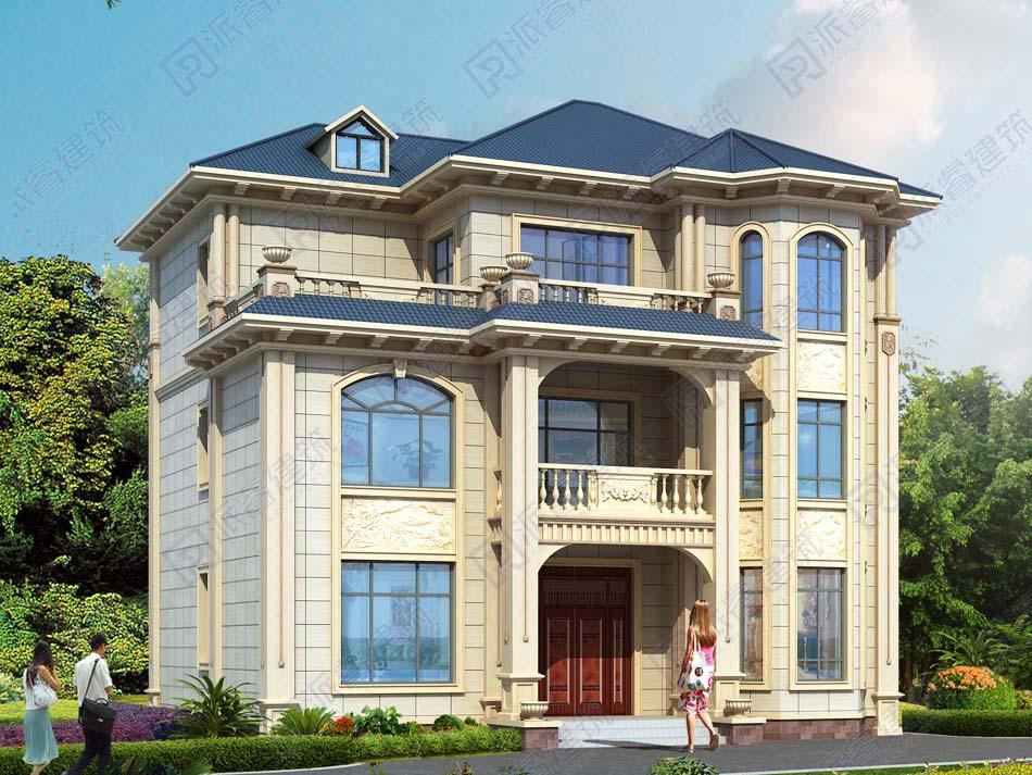 120平农村自建房设计图三层欧式独栋别墅,三面采光带大露台,可三代人同住-PR470