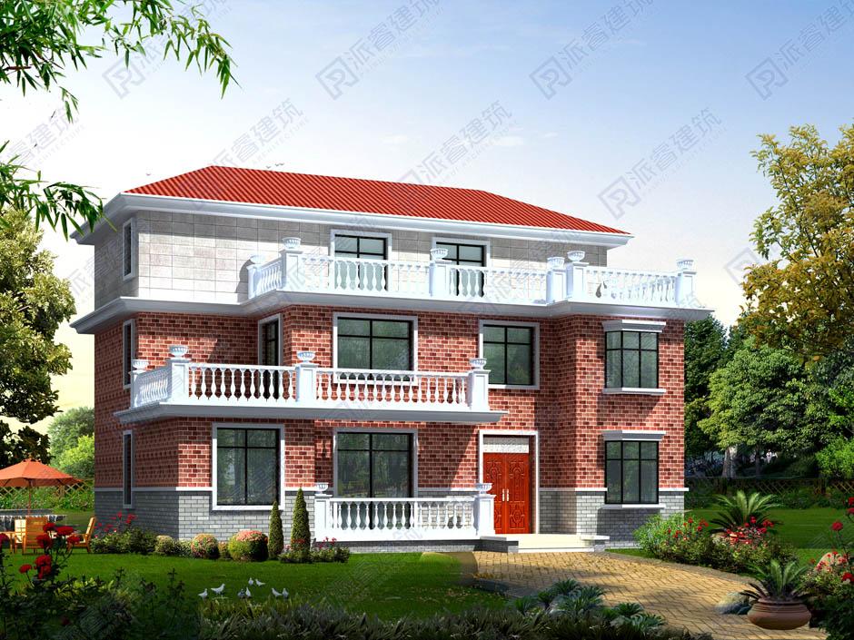 PR046 大气三层复式客厅别墅设计图纸及效果图
