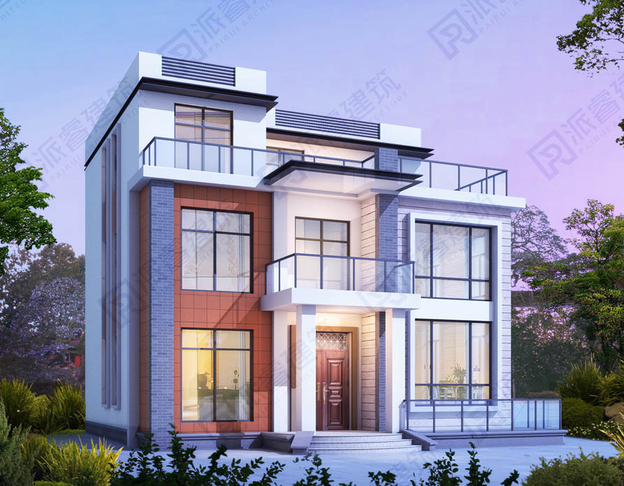 新疆喀什 张府| 占地125平农村现代简约风格三层别墅外观效果图,带观景露台