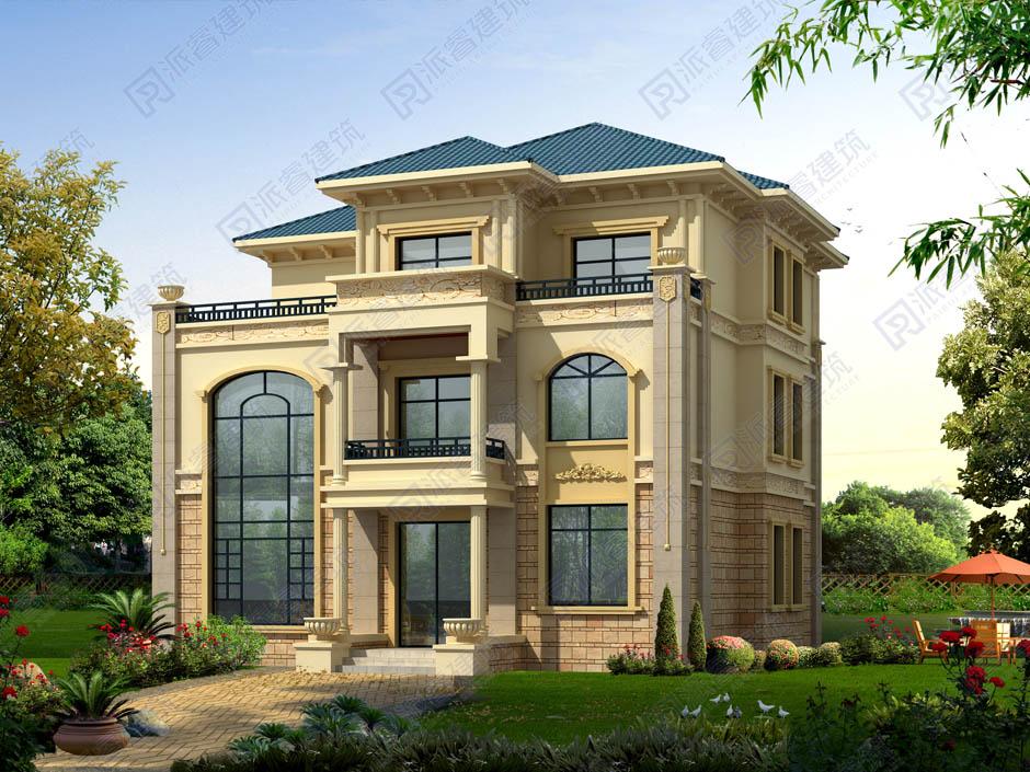 PR271-农村自建三层欧式带罗马柱造型的别墅设计效果图