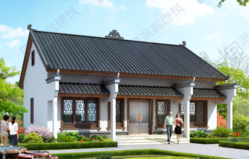 PR489-农村一层中式别墅设计效果图_古典中式独栋别墅外观图片