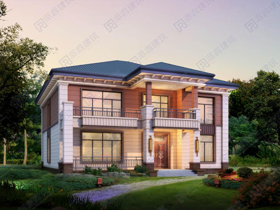 海派建筑風格新中式農村自建別墅二層設計圖紙及效果圖大全,三開間,時尚前衛-PR483
