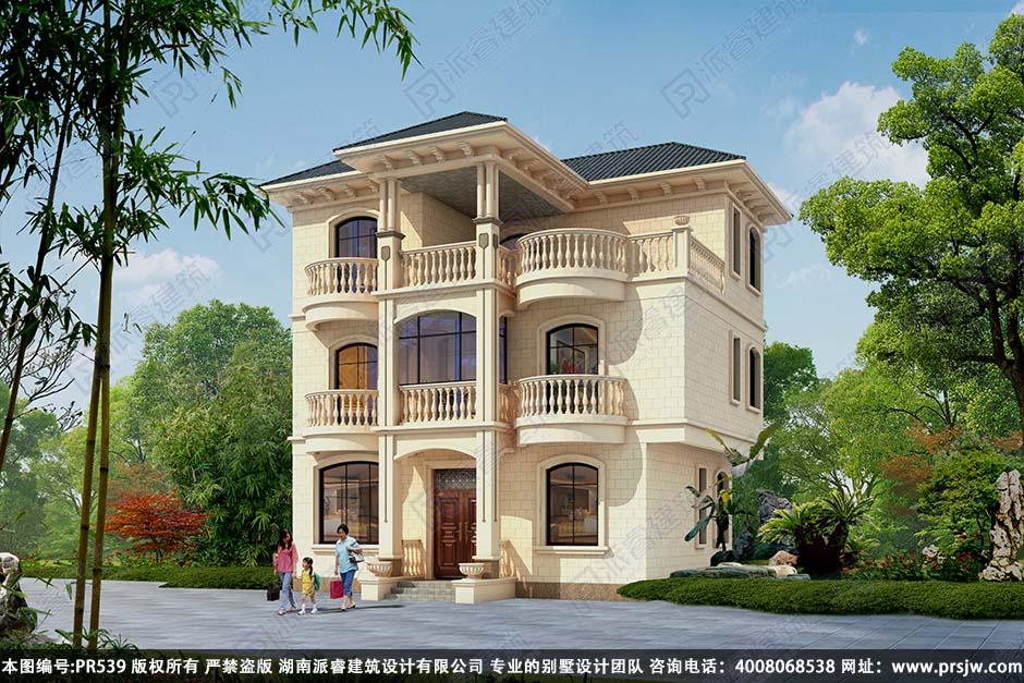 PR539-农村自建房设计图三层|占地90平带旋转楼梯_三层豪华欧式别墅设计