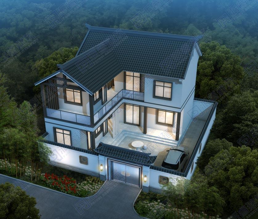 PR566-120平二层农村自建中式别墅设计图纸|中式别墅外观效果图,有天有地有院,传承中国建筑之美