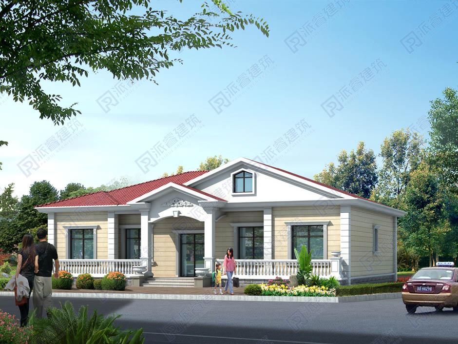 PR300 200平方米左右漂亮的欧式一层农村别墅设计图-派睿建筑