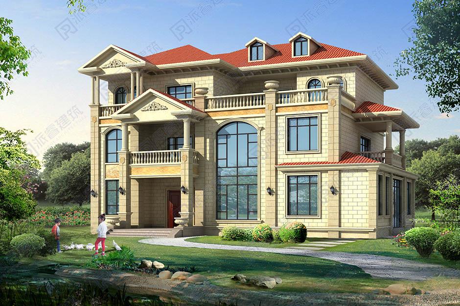 PR526-三层豪华独栋别墅设计图_占地230平复式客厅_高档别墅设计图片
