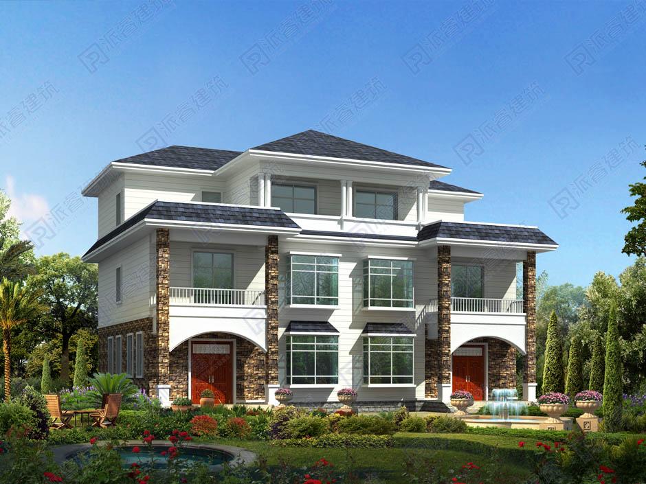 PR214 三层带大露台现代风格乡村建房兄弟双拼别墅设计全套图纸大全,派睿建筑