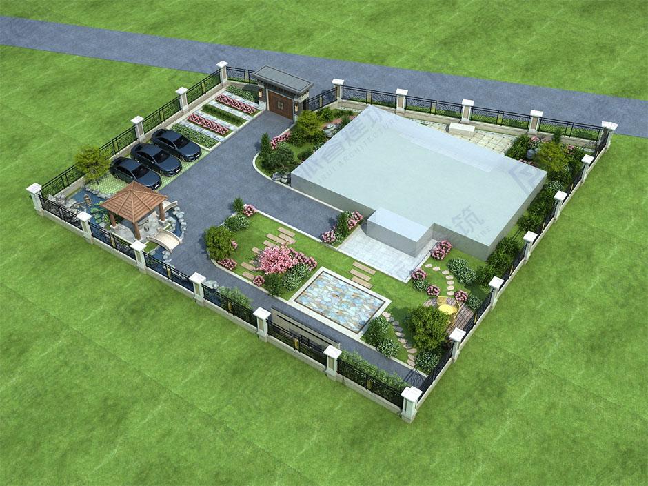农村自建别墅院子绿化设计效果图,自然意境,趣味无穷-PR710