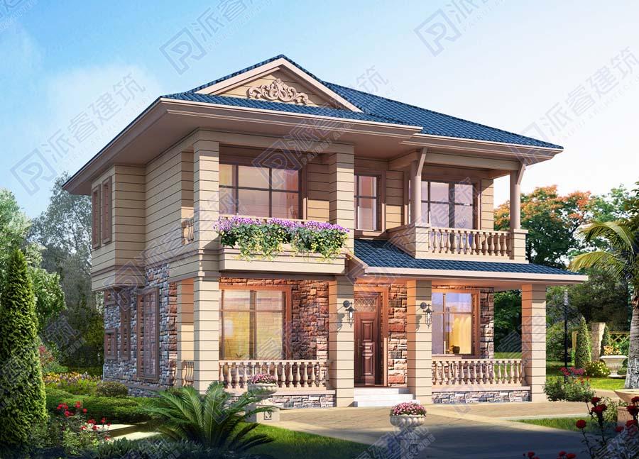 農村自建兩層別墅設計圖紙及外觀效果圖,二開間房屋前帶走廊的戶型-PR509