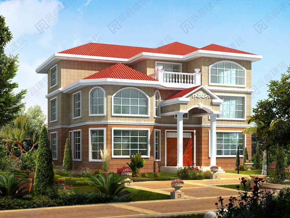 PR027 新农村复式三层带露台别墅设计图纸