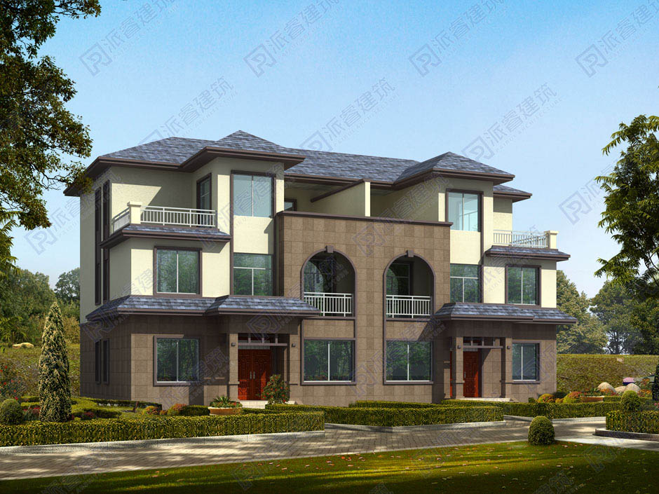 PR213 三层带大露台兄弟双拼别墅设计全套图纸大全,派睿建筑