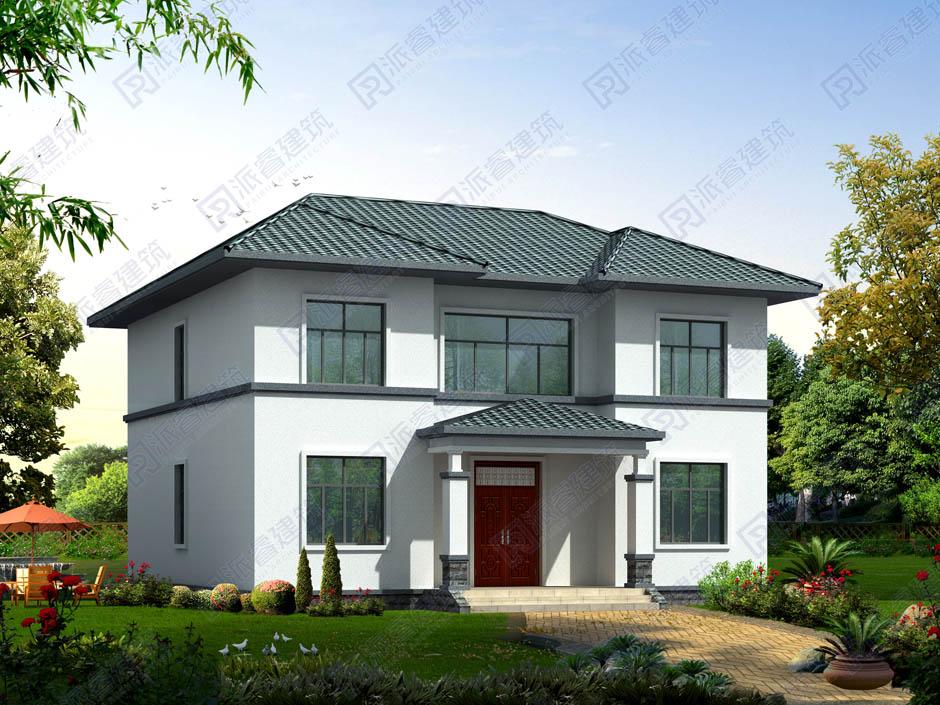 农村145平方米房子设计图二层,新中式独栋别墅外观效果图-PR232