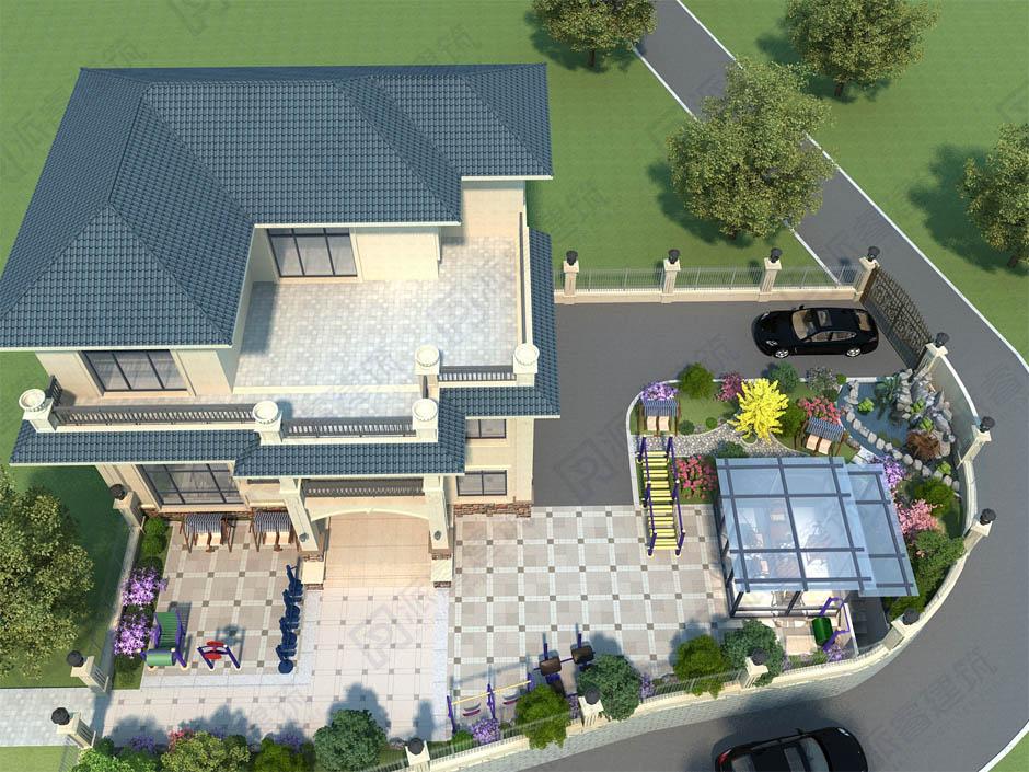 农村别墅院子设计效果图带停车位和健身区,你想要的风花雪月这里都有-PR709