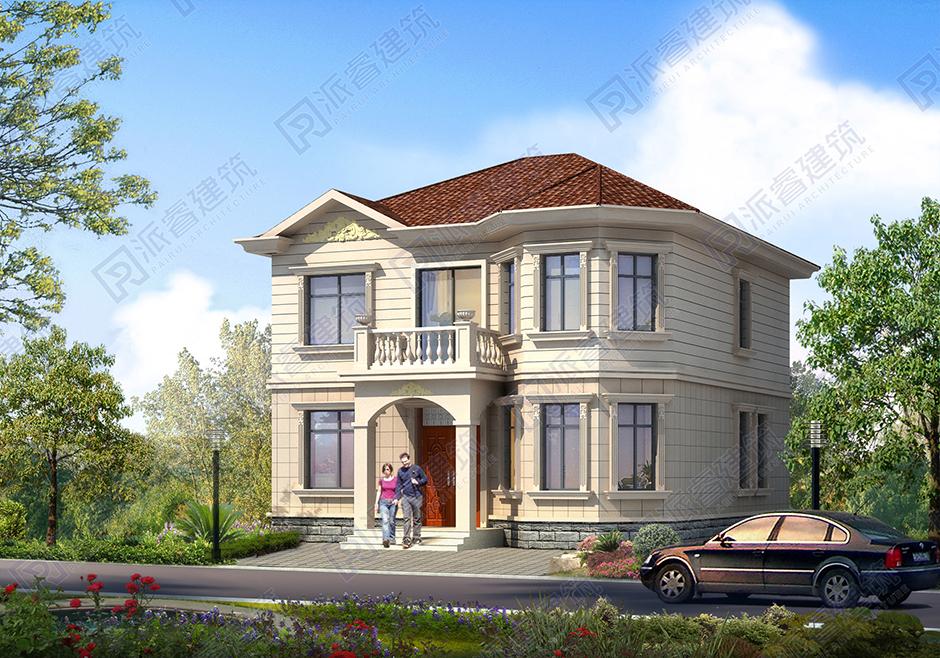 占地116平农村房屋设计图二层,美式城堡别墅外观图片,造价20万左右,可住三四代人-PR168