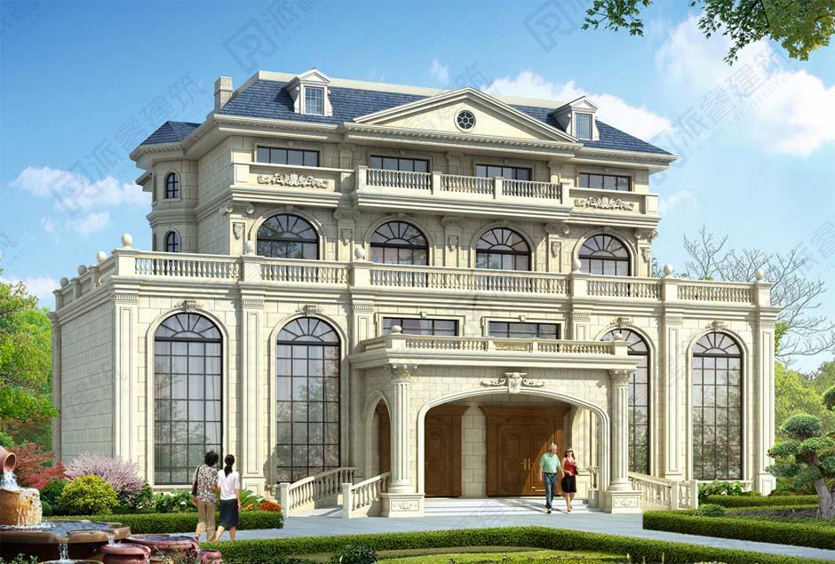 四层豪华双拼别墅外观设计效果图|带堂屋和落地窗,高档气派-PR556