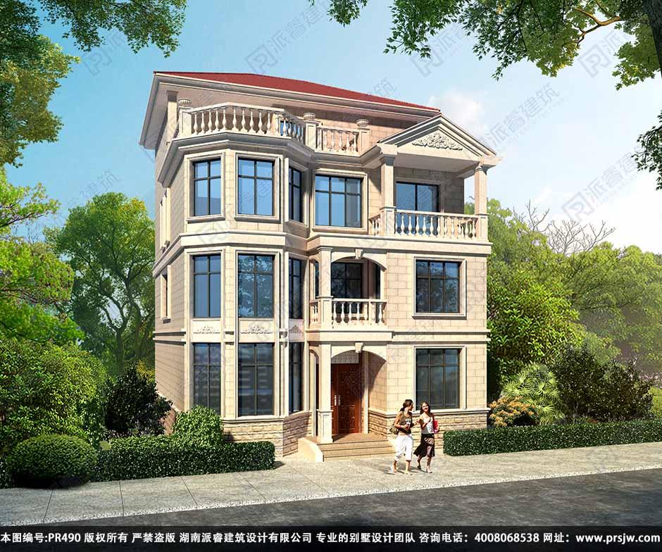 PR490-农村四层小别墅盖房设计图_一二层复式挑空别墅设计