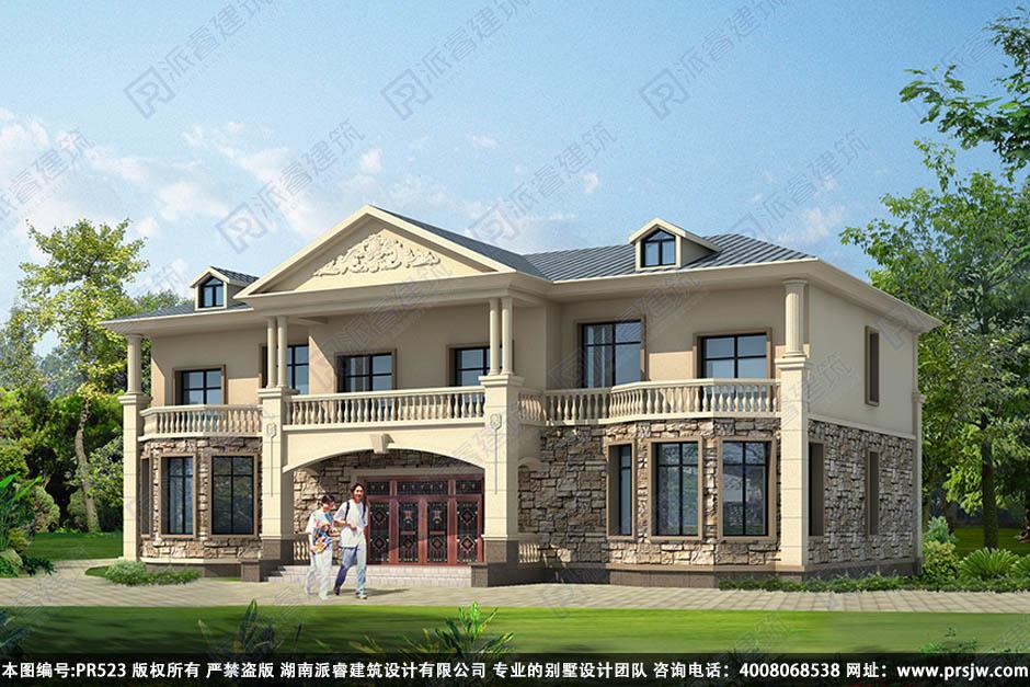 PR523-双拼别墅设计两层_带堂屋_农村双拼别墅户型图