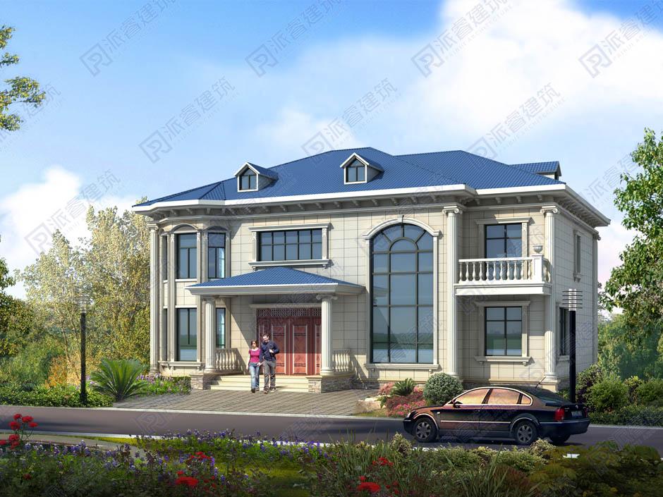 PR468 农村小洋楼二层半别墅经济型_欧式新农村自建房全套设计图纸