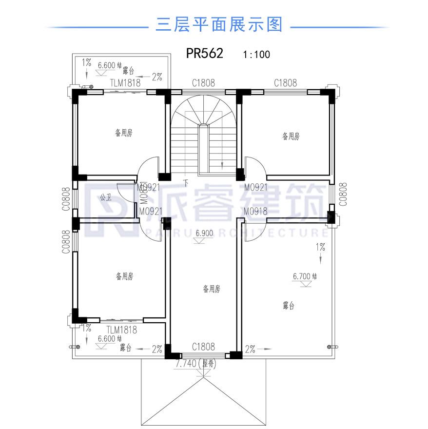 农村自建新中式别墅设计图纸及效果图大全,外观恢弘大气-派睿建筑 PR562