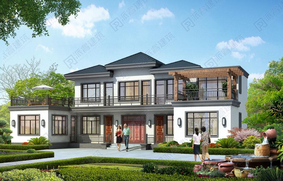 四川南充-170平乡村自建房屋设计图,东方禅意的新中式别墅带屋顶花园