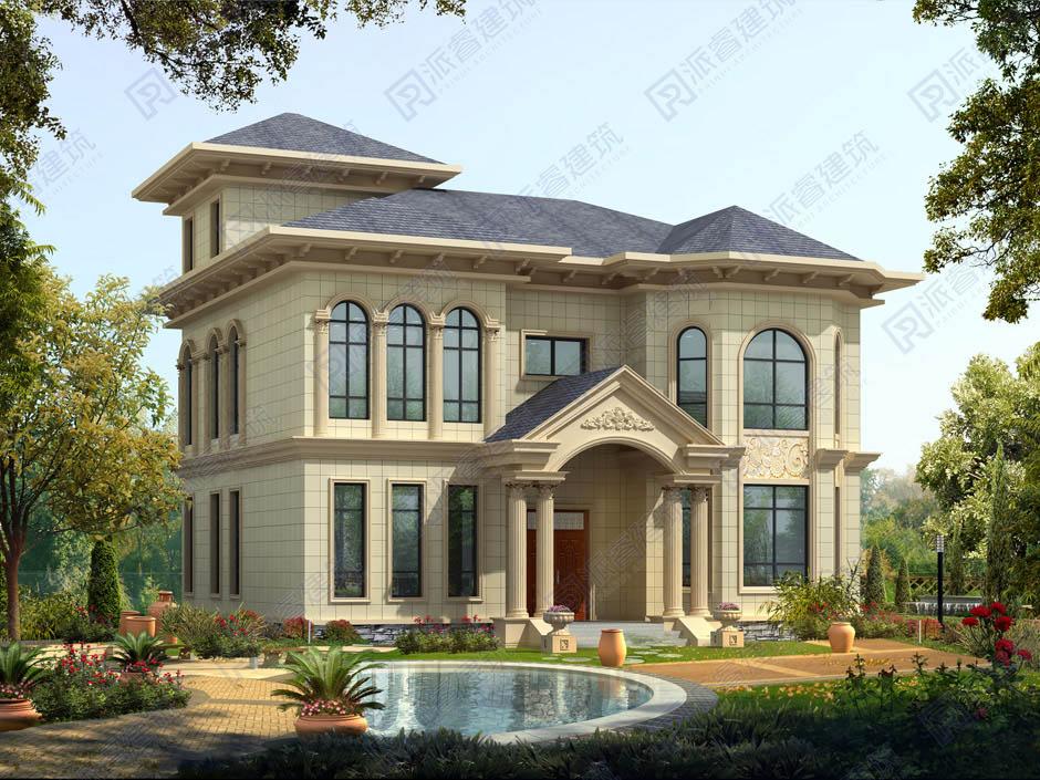 PR264 农村二层小别墅,豪华欧式风格实用美观别墅设计图片,新农村房屋设计,农村自建房别墅图片,派睿建筑