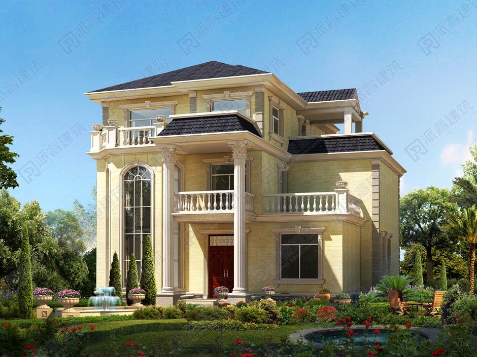 美墅建房設計圖紙三層高檔復式別墅,優雅時尚帶兩個大露臺-PR148
