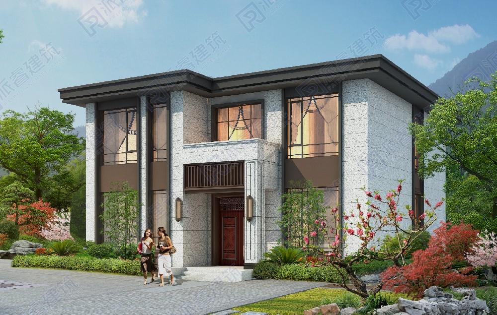 PR560-140平农村二层新中式别墅平顶设计效果图|复式房,外观稳重中庸