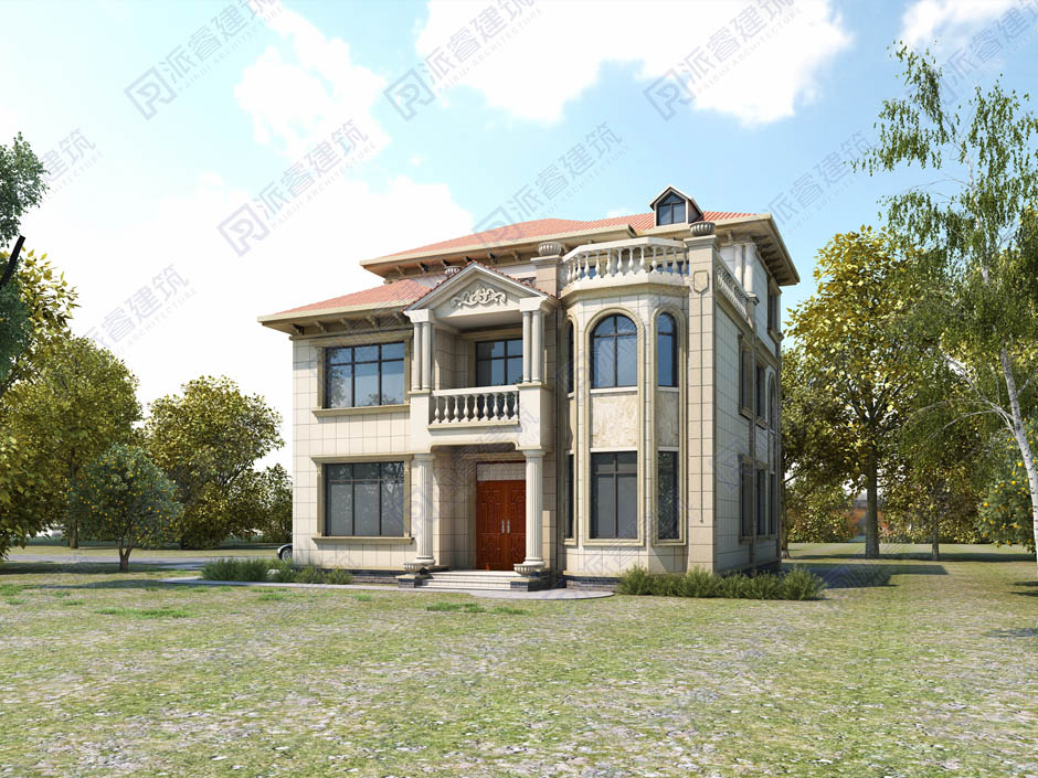 PR034 大气三层带露台欧式别墅设计图纸自建房别墅豪华欧式小洋房家乡建房
