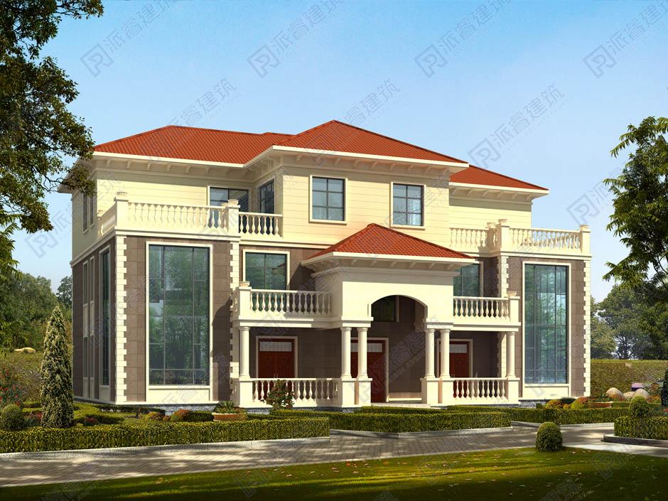 PR287 农村三层带露台兄弟双拼欧式别墅设计全套图纸大全,新农村别墅,派睿建筑