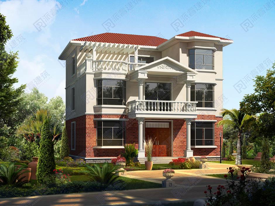 PR208-美式农村三层小别墅设计图纸及效果图大全_带屋顶花园