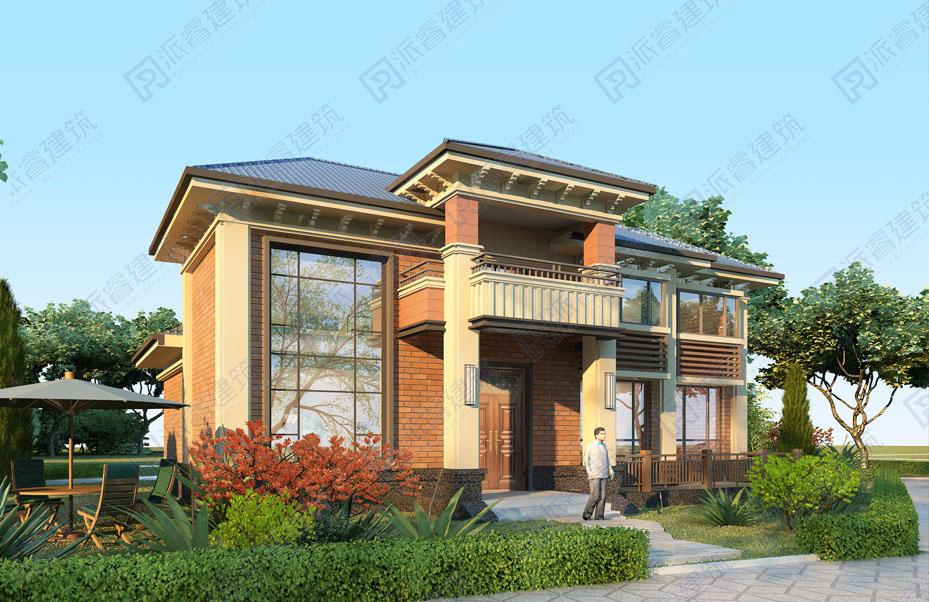 广州梅州-165平农村盖房子设计图纸二层新中式外观带院子,享受慢生活