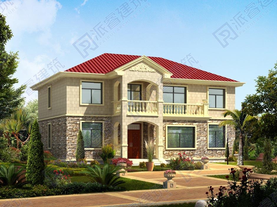 PR020-农村自建小别墅二层_占地180平_简欧农村二层别墅设计图