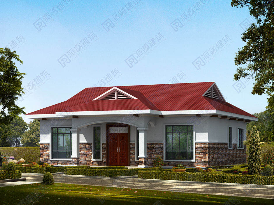 PR231 豪華140平米農村自建別墅一層建筑設計效果圖-派睿建筑