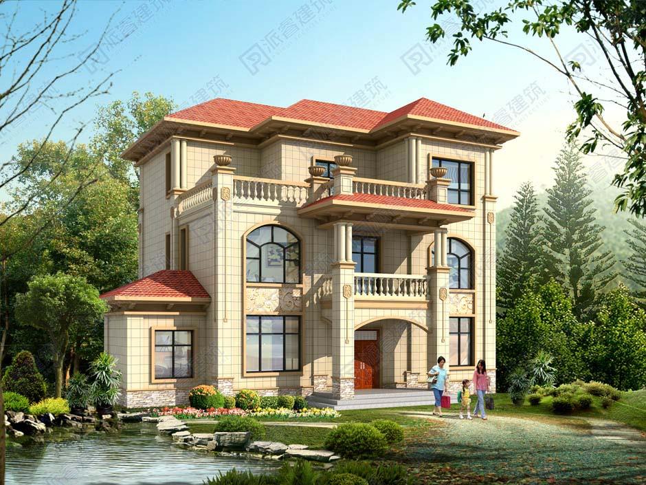 农村建房设计图大全三层,欧式别墅外观配单独厨房、9室带大露台-PR332