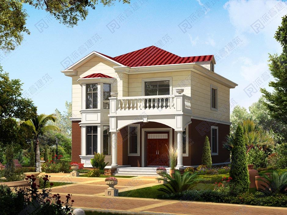 農村自建房90平米小戶型設計圖,開間8米進深11.3米新款美式風格二層半洋房小別墅-PR179